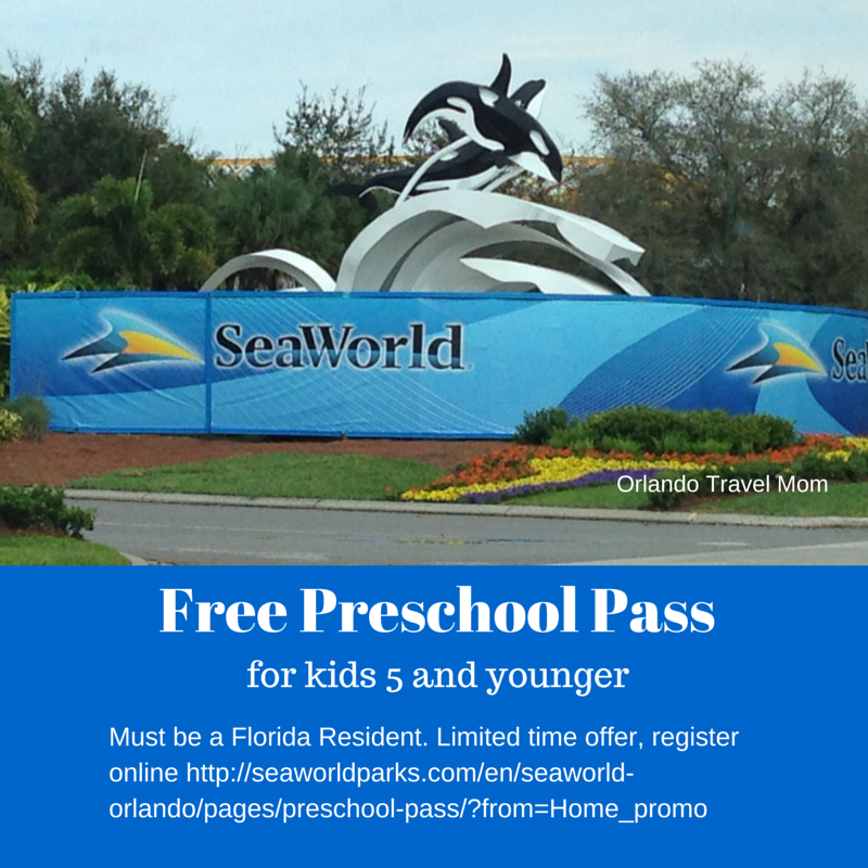 Limited time offer Free preschool pass to SeaWorld Orlando and